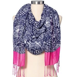 Lilly Pulitzer Upstream Pink & Navy Rayon Scarf